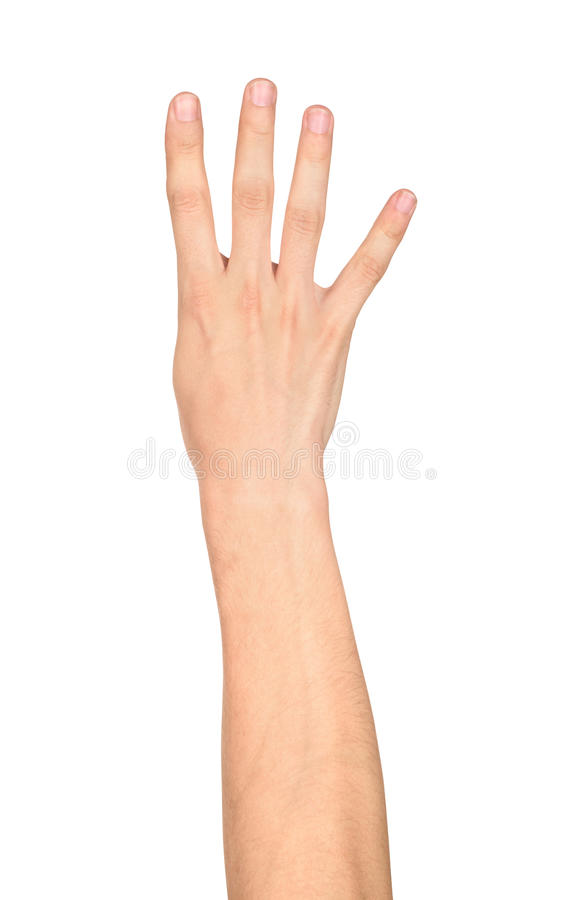 Free Hand Shows Four Fingers Royalty Free Stock Image - 58248796