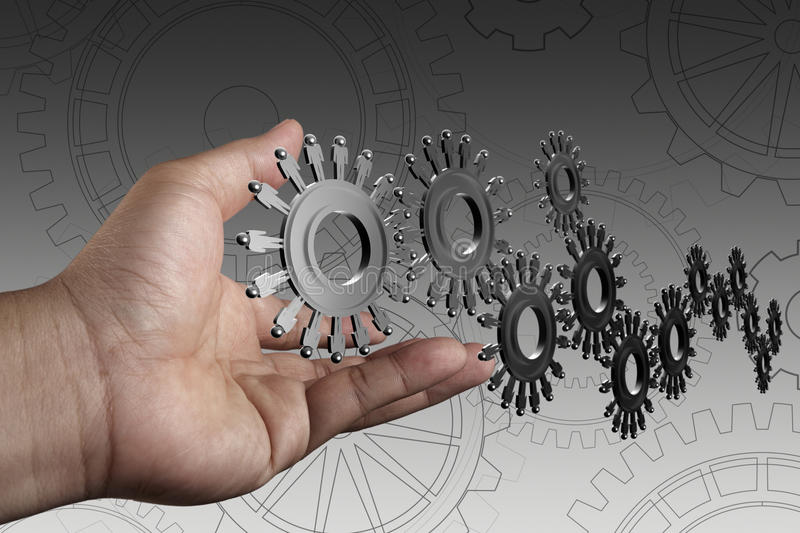 Hand shows people cogs as concept royalty free stock images