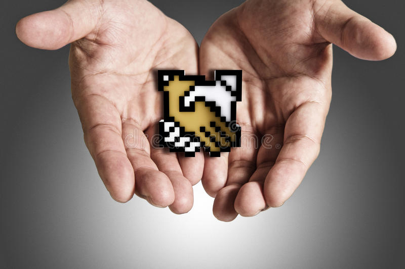 Download Hand Shows Pixel Handshake Icon Sign Royalty Free Stock Photography - Image: 25159777