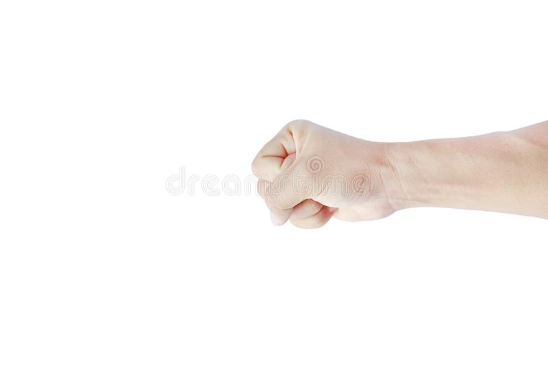A hand shows in signal of hammer or rock on white background.  stock photos