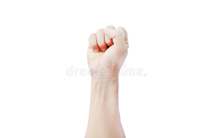 A hand shows in signal of hammer or rock on white background.  stock images