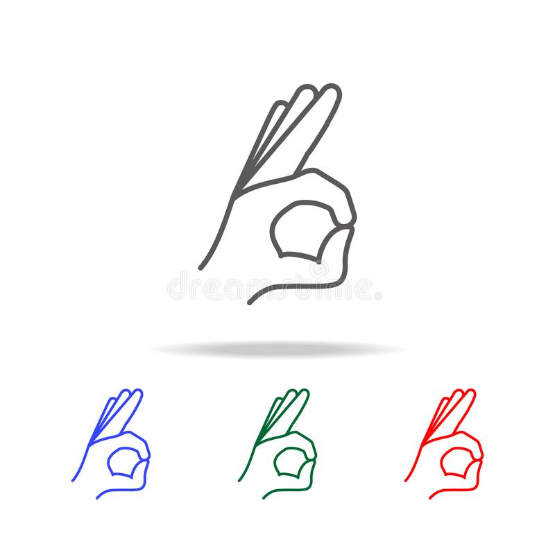 hand sign all is well icon. Elements of hands multi colored icons. Premium quality graphic design icon. Simple icon for websites, royalty free illustration