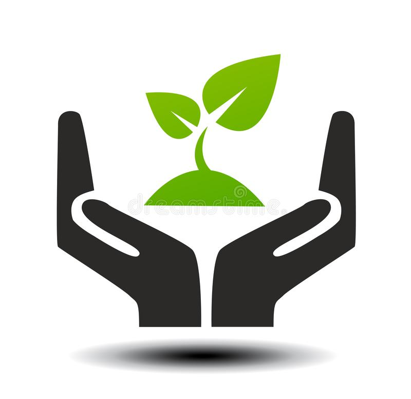 Hand sign of environmental protection stock photo