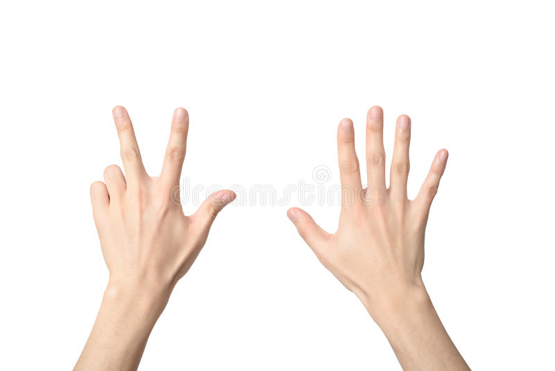 Hand sign of number eight royalty free stock photos