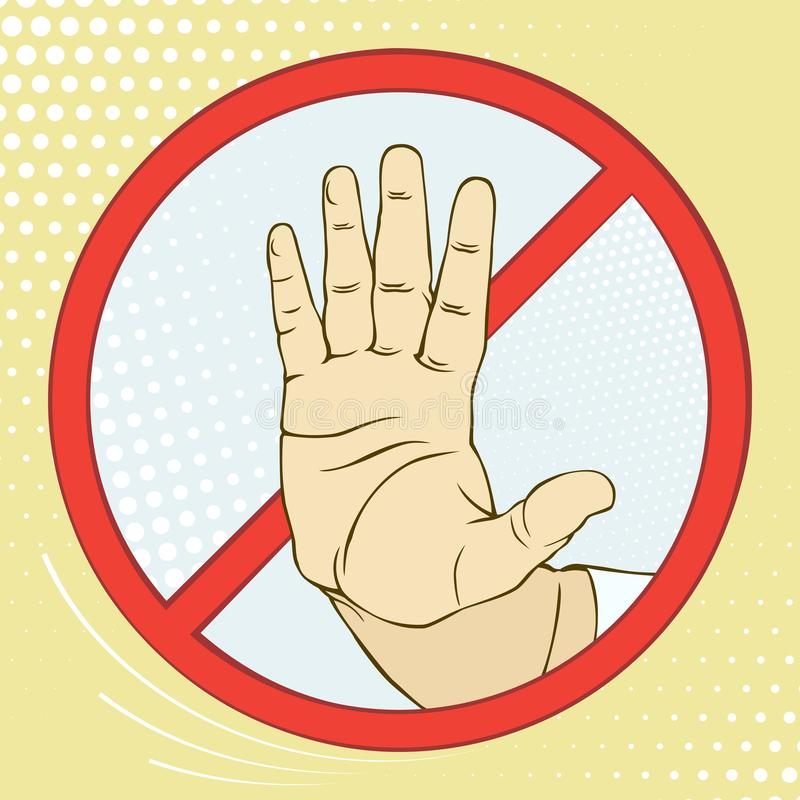 Hand sign warning of the danger. Stop. Imitation retro illustrations. Vintage picture. Hand sign warning of the danger. Stop. Imitation retro illustrations royalty free illustration
