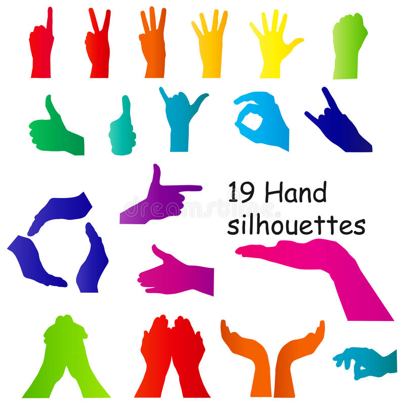 Hand signal silhouettes on white. vector stock illustration