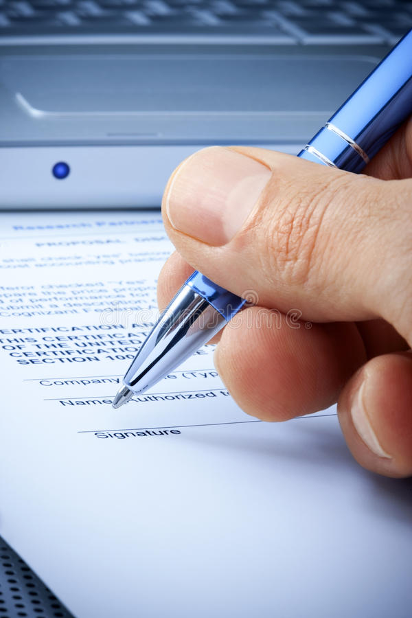 Hand Signature Computer Contract Insurance royalty free stock photography