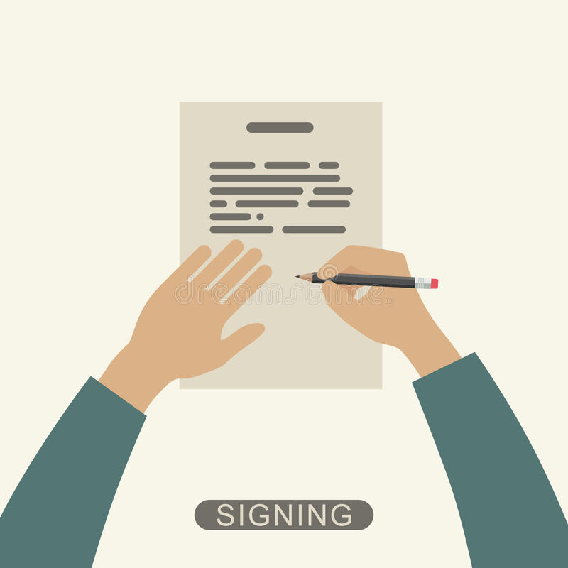 Hand signing contract. Hand holding pencil and signing contract. Vector flat illustration vector illustration