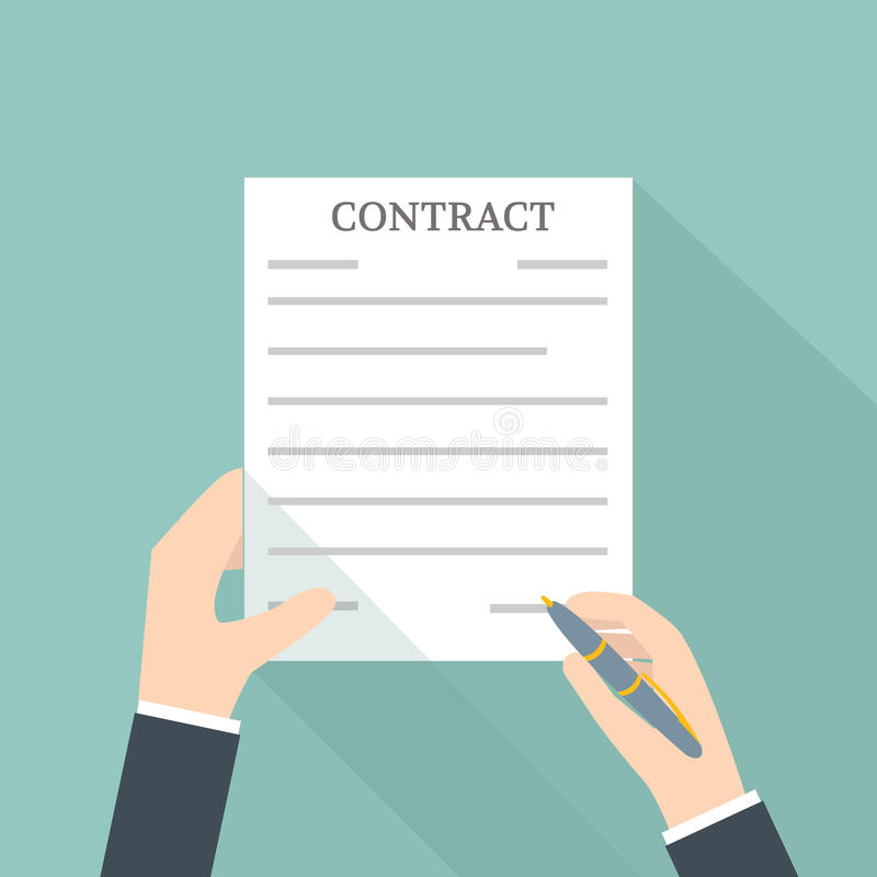 Hand Signing Contract. Vector illustration royalty free illustration