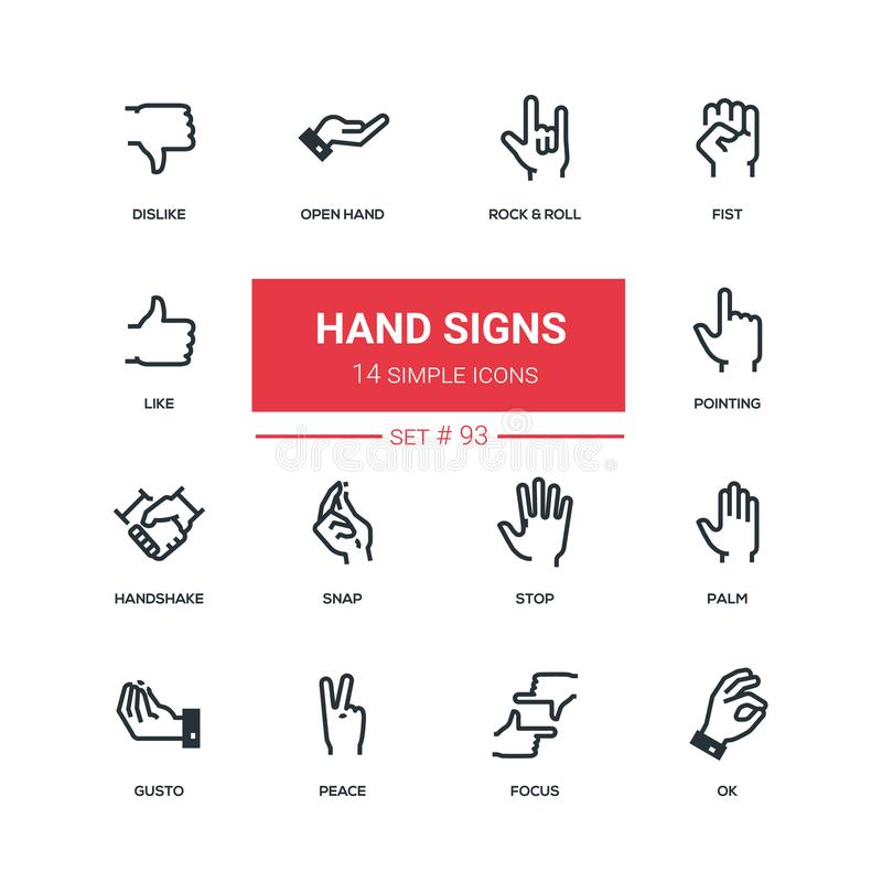 Hand signs - flat design style icons set. High quality solid pictograms on white background. Rock and roll, fist, like, dislike, open, pointing, handshake vector illustration