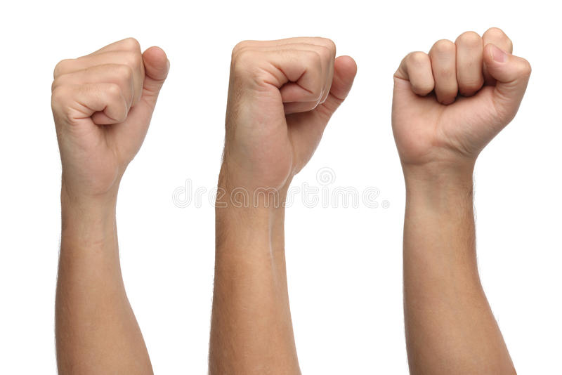 Hand signs. Punch fist isolated on white. Background royalty free stock photos