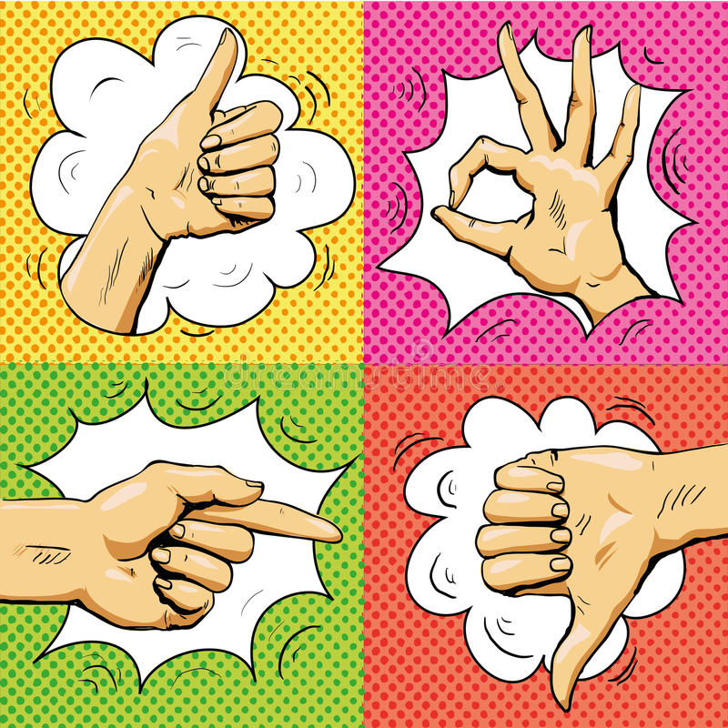 Hand signs in retro pop art style. Cartoon comic vector set. Pointing finger, ok sign, thumb up. stock illustration