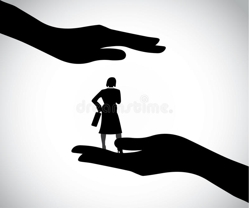 Hand silhouette protecting professional smart business woman royalty free illustration