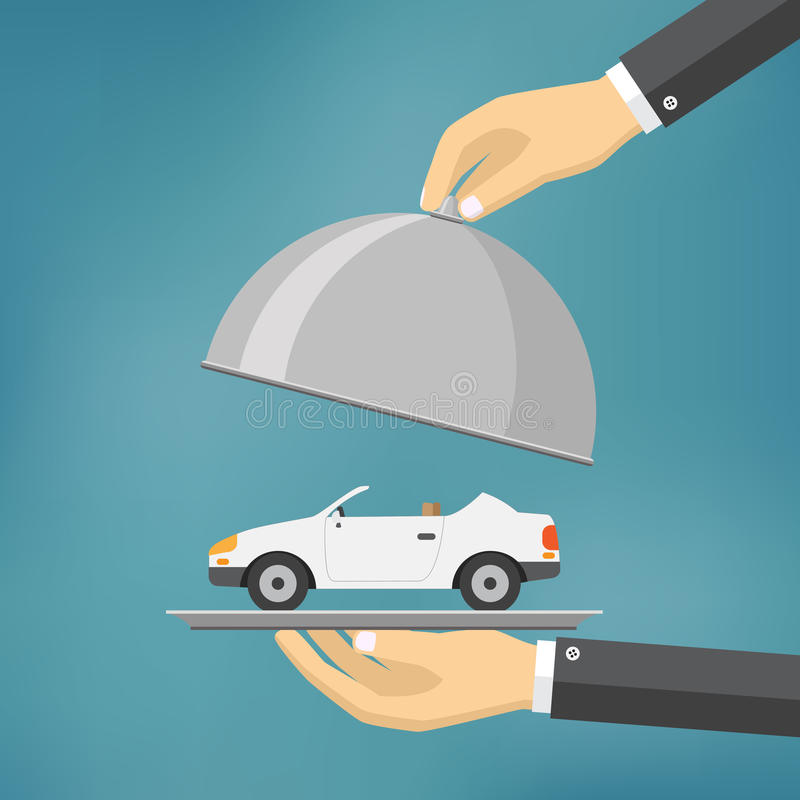Hand with silver tray with a car on it. vector illustration