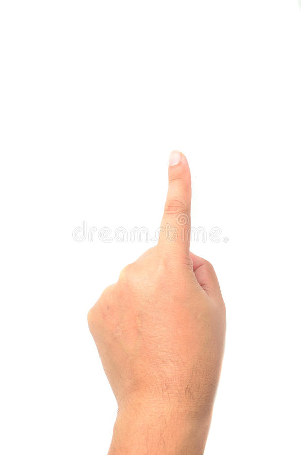 Hand simulating pressing a button royalty free stock images