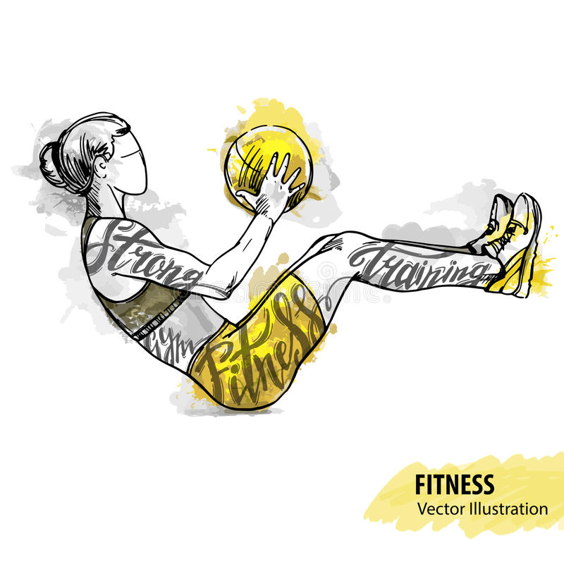 Hand sketch of a girl is training with a ball. Vector sport illustration. stock illustration