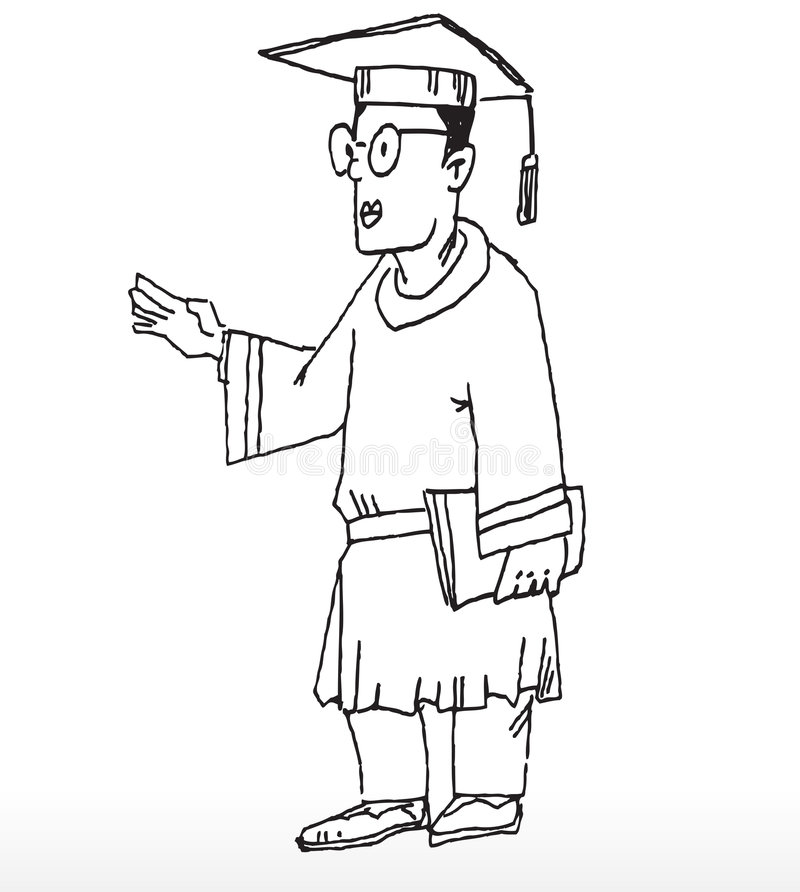 Hand Sketch Of A Graduate Royalty Free Stock Images