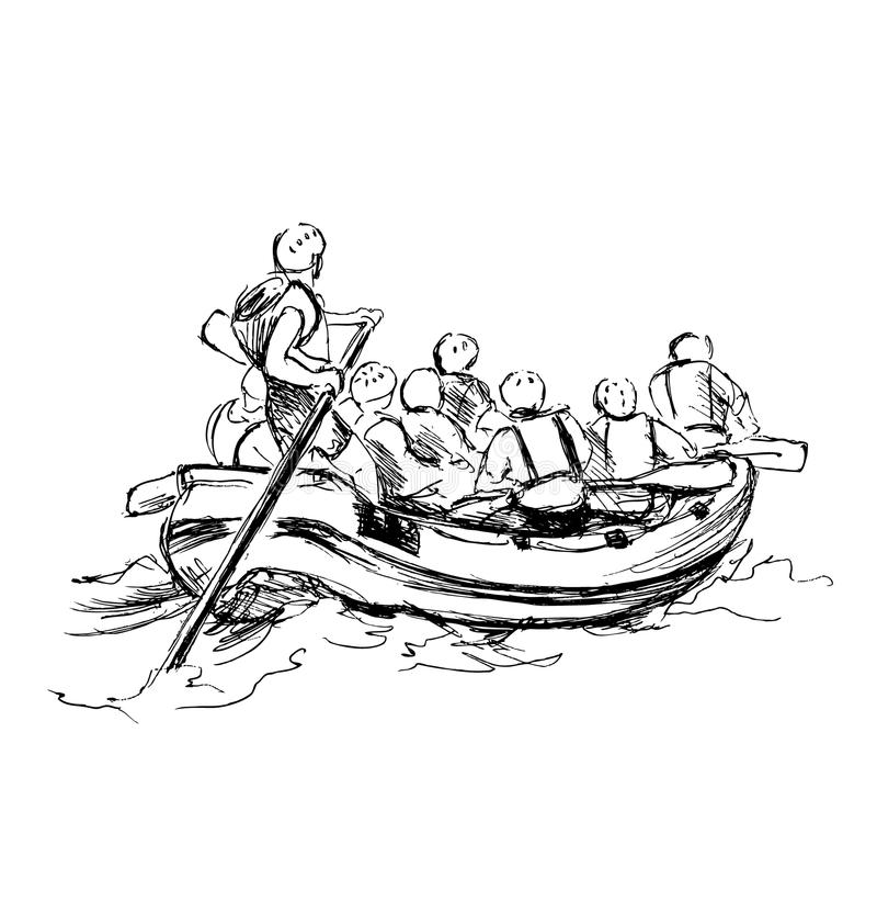 Free Hand Sketch Of People On A Raft Stock Photo - 69567620