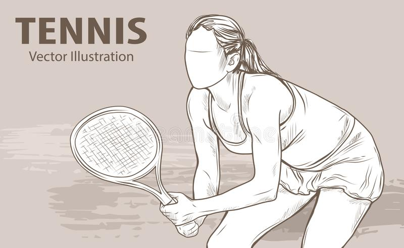 Hand sketch of professional tennis player. Vector sport illustration. Graphic silhouette of the girl athlete on vector illustration