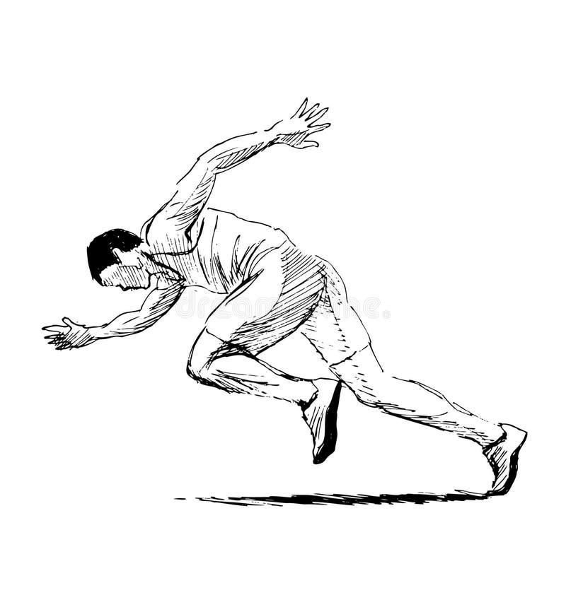 Hand sketch running man stock illustration