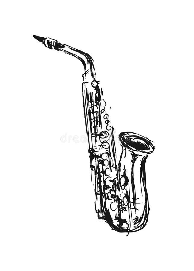 Hand sketch saxophone stock vector illustration of - Saxophone dessin ...