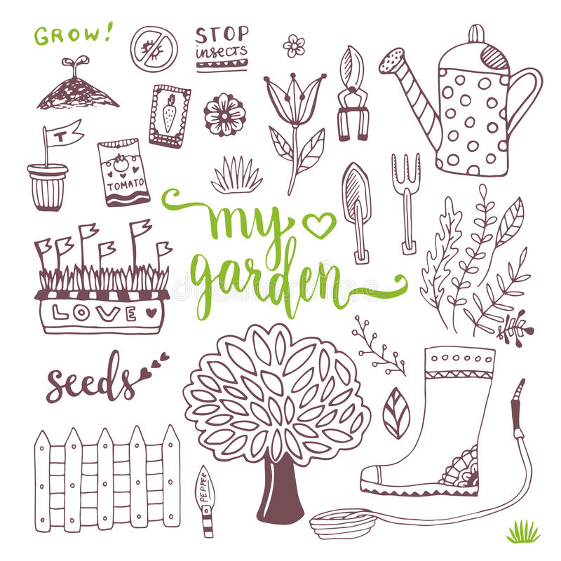 Hand sketch set of Garden doodle elements - seed packets, tools, tree and watering can vector illustration