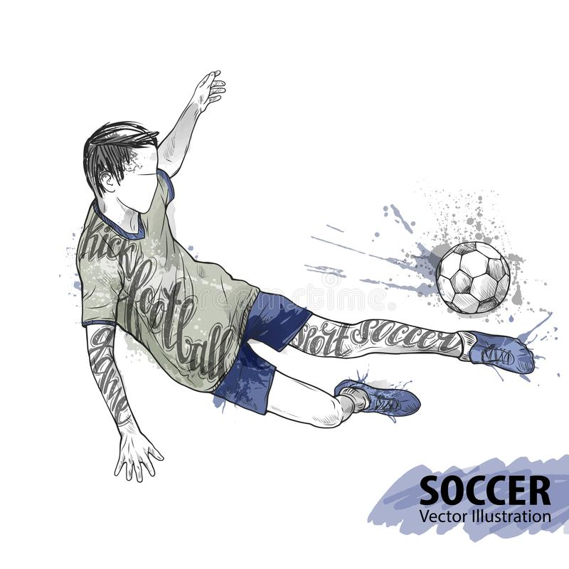 Hand sketch of soccer player with ball. Vector sport illustration. Watercolor silhouette of the athlete with thematic vector illustration