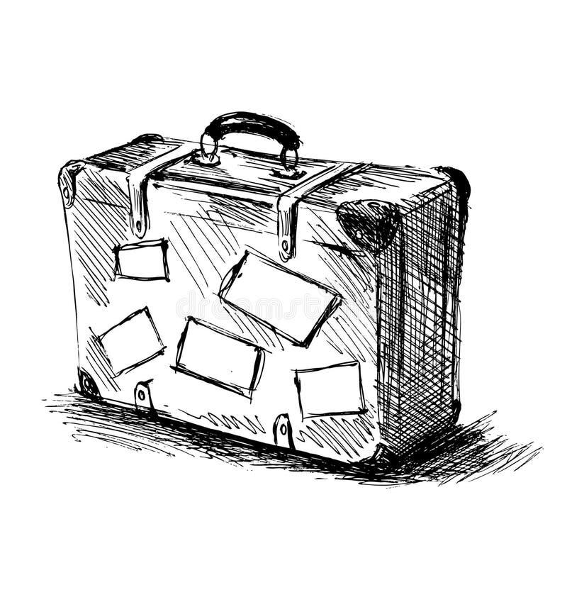 Hand sketch travel suitcase stock illustration