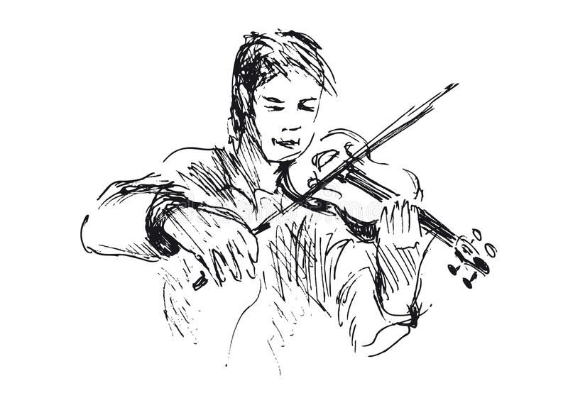 Hand sketch violinist. Vector illustration royalty free illustration