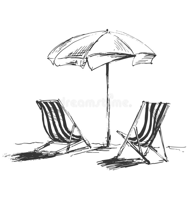 Free Hand Sketch With Beach Chairs And Parasols Royalty Free Stock Images - 64614239