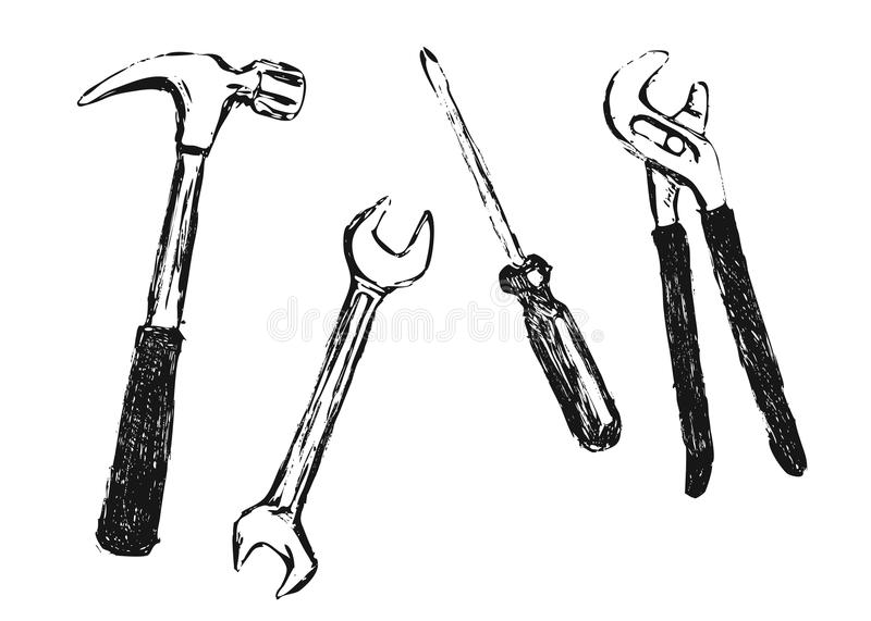 Hand sketch work tool royalty free illustration
