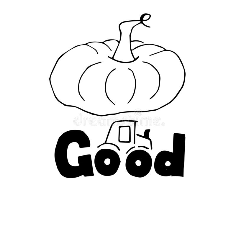 Hand sketched autumn lettering Good pumpkin with . Modern brush calligraphy vector illustration