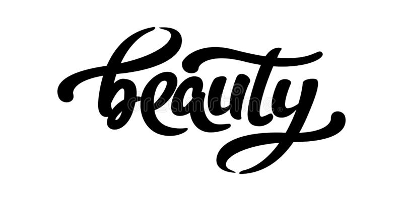 Hand sketched Beauty word. Vector lettering typography. Calligraphy phrase. stock illustration