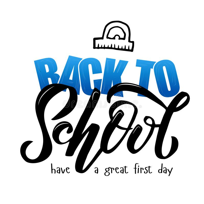 Hand sketched blue gradient Back to school lettering on textures background. have a great first day. Design for logo, banner, stock illustration