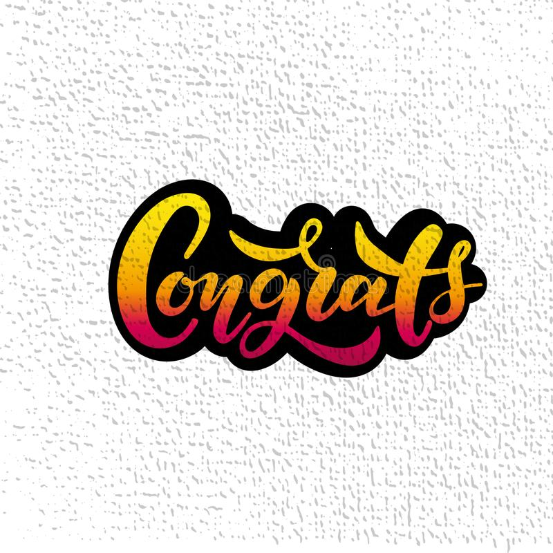 Hand sketched Congrats lettering typography. Drawn art sign. Motivational text. vector illustration