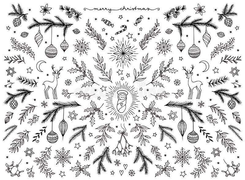 Hand sketched floral design elements for Christmas. Mistletoe, fir branches and holly for text decoration royalty free illustration