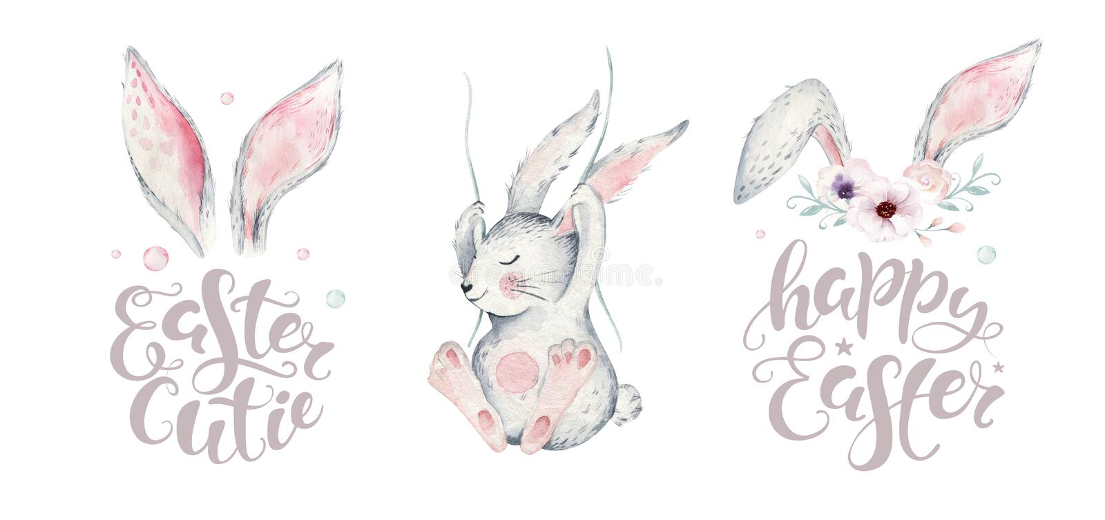 Hand sketched Happy Easter bunny typography lettering overlay poster with watercolor element. Modern calligraphy. Hand sketched Happy Easter typography lettering royalty free illustration
