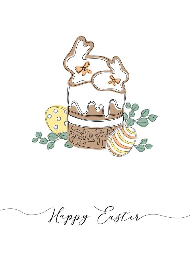 Vector Happy Easter templates with eggs, wreaths, rabbit and typographic design. royalty free illustration