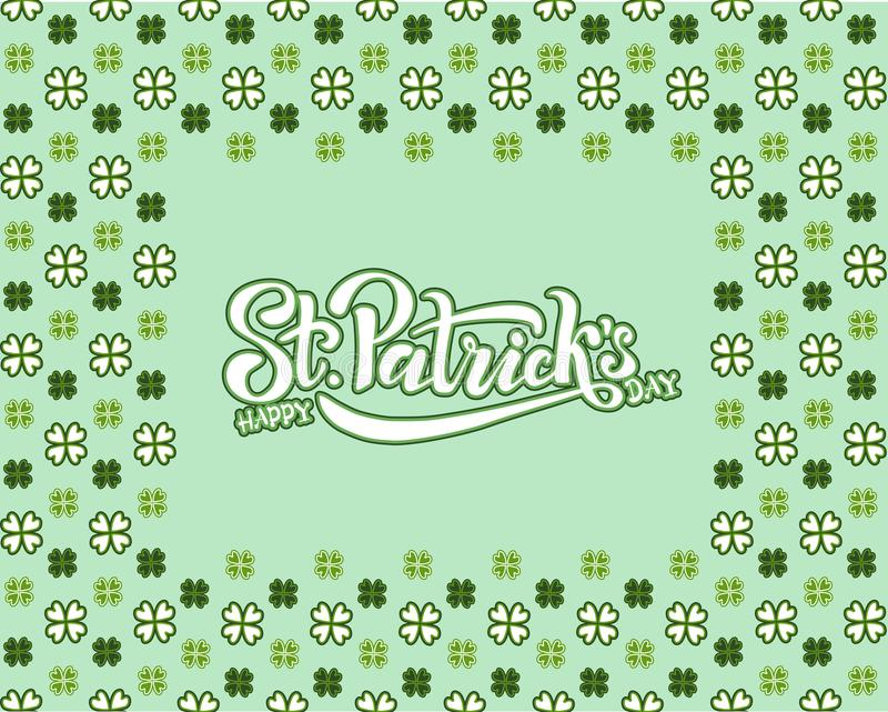 Hand sketched Irish celebration design. Vector illustration of Happy Saint Patrick`s Day logotype. Beer festival lettering royalty free stock image