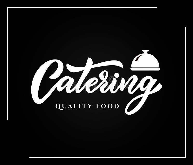 Hand sketched lettering Catering company logo on black background.Vector illustration EPS 10 vector illustration