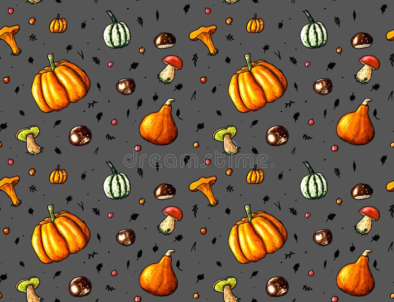 Hand sketched seamless background with pumpkins, autumn fruites and mushrooms vector illustration
