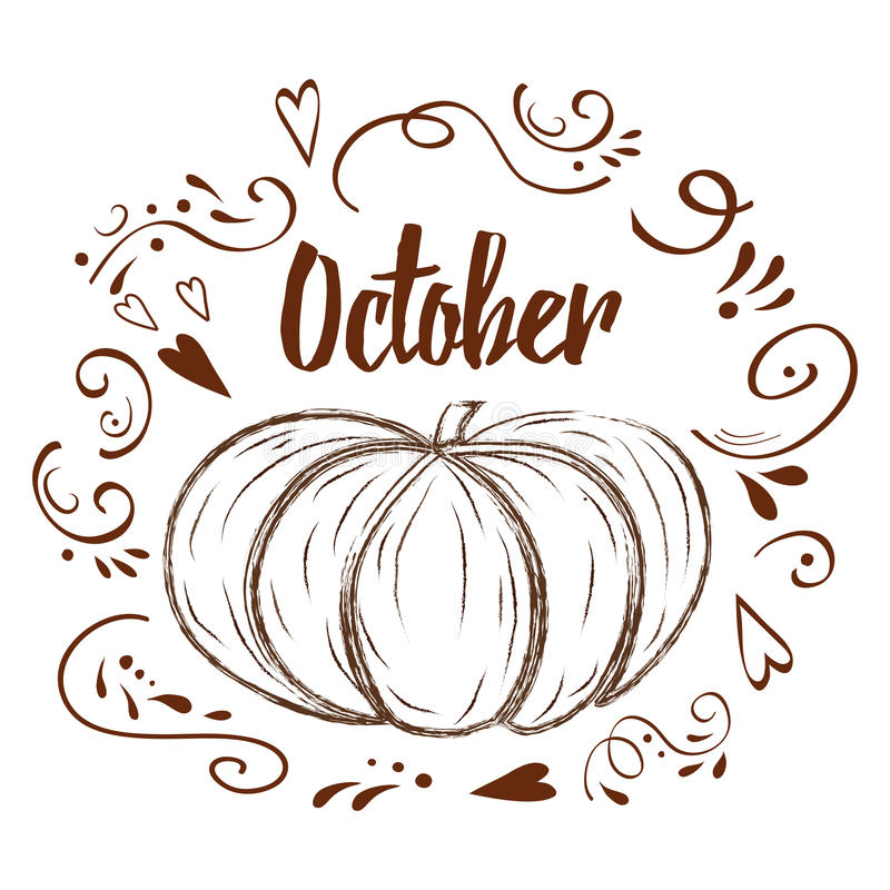 Hand-sketched typographic element with pumpkin. Hearts, pumpkin and text on white background. October. Typography posters with brown pumpkin shape in graphic royalty free illustration