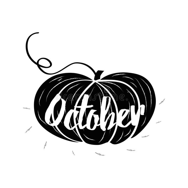 Hand-sketched typographic element with pumpkins. Hearts, pumpkin and text on white background. October. Typography posters with black pumpkin shape in graphic stock illustration