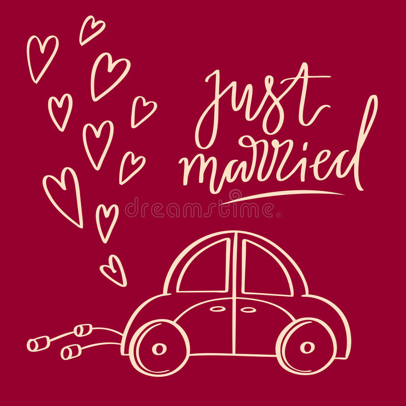 Hand sketched vector wedding symbol. Just married lettering and car stock photography