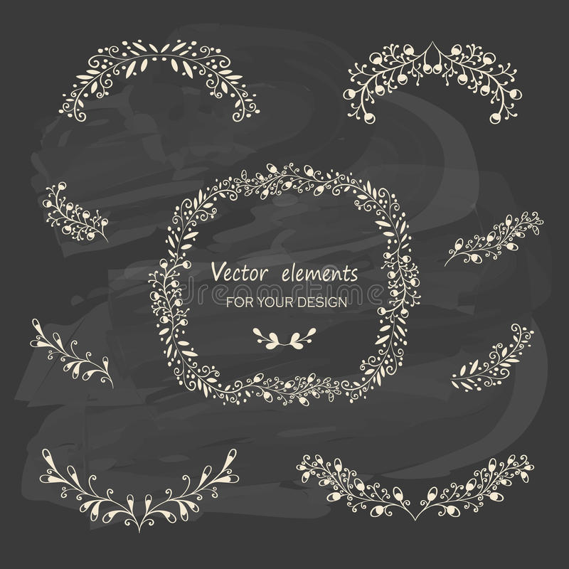 Free Hand Sketched Vintage Floral Elements Royalty Free Stock Photos - 46252208