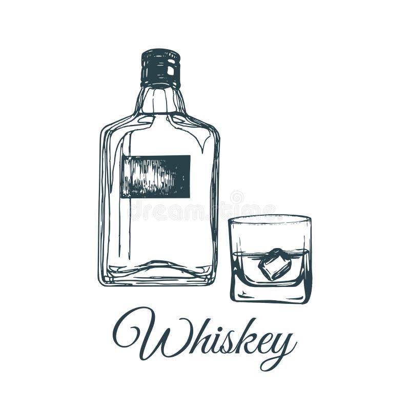 Hand sketched whiskey bottle and glass. Vector illustration of scotch set. Vintage alcoholic drink menu design concept. royalty free illustration