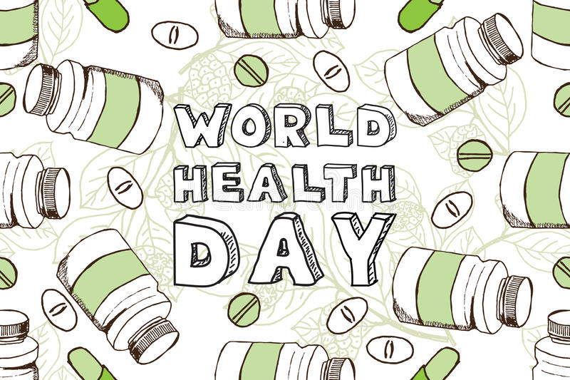 Hand-sketched world health day background royalty free illustration