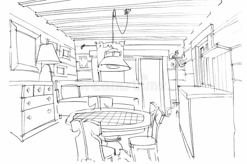 kitchen drawing perspective. Perfect Kitchen Download Hand Sketching Of A Modern Kitchen Interior Stock Illustration   Of Indoor Illustration To Drawing Perspective