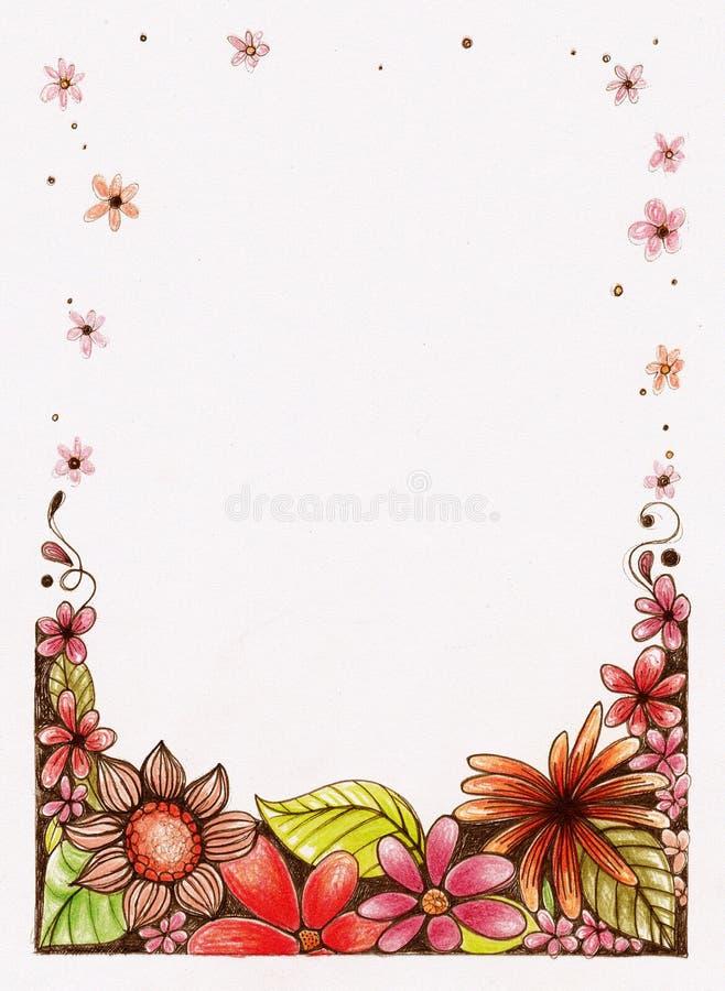 Hand skissad blommagräns arkivfoto