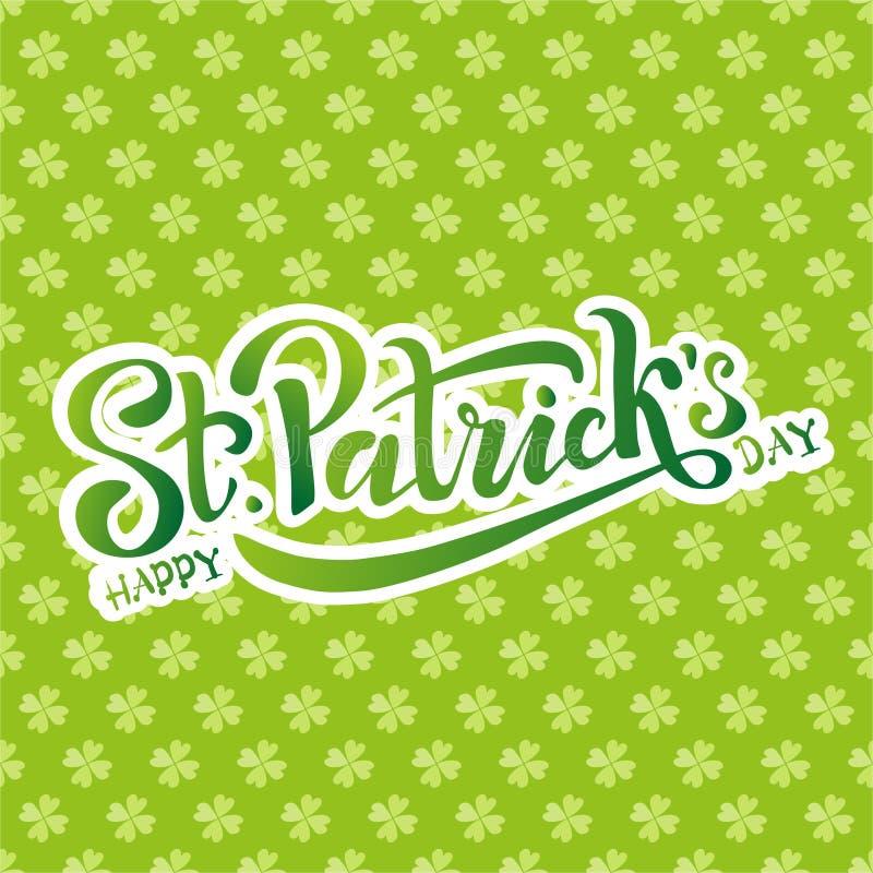 Hand skissad irl?ndsk ber?mdesign Vektorillustration av den lyckliga logotypen f?r dag f?r St Patrick ` s ?lfestivalbokst?ver vektor illustrationer
